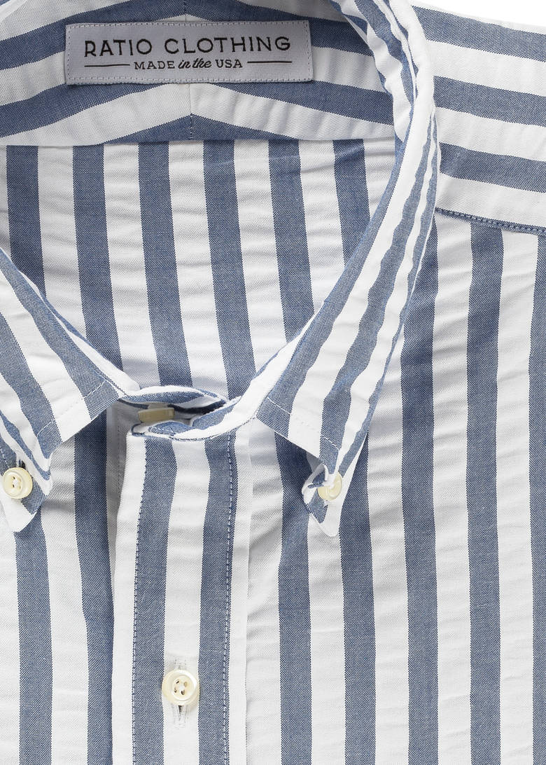 nautical style fabric COLLAR with contrast vintage button