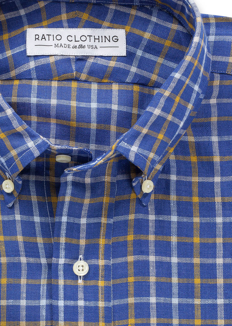 Ouray blue and yellow linen ratio clothing for Blue and yellow plaid dress shirt