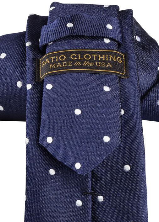 e489a10a06a0 Navy Polka Dot Repp Tie - Ratio Clothing