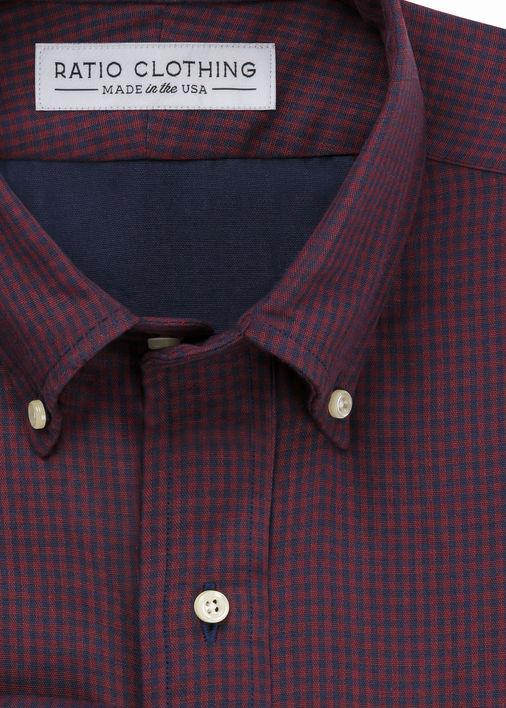 Red and Navy Double Cloth Gingham
