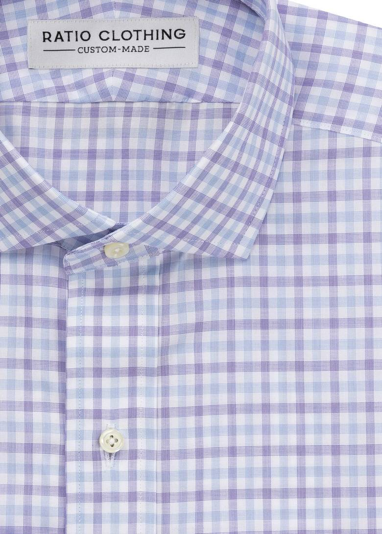 Zephir Light Blue and Violet Gingham
