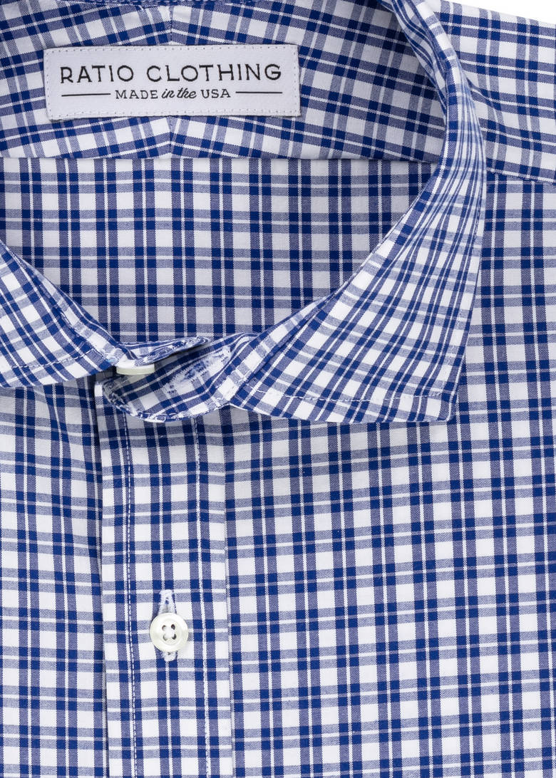 Royal Blue Check Four-Way Stretch