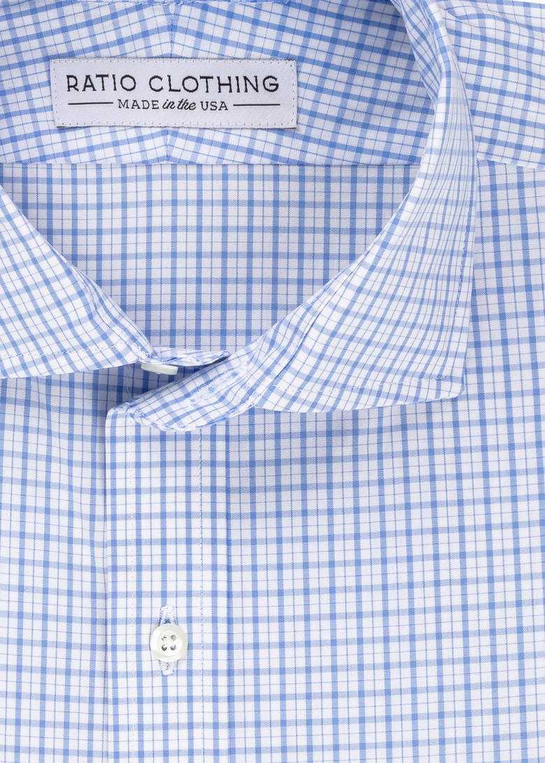 Light Blue Check Four-Way Stretch Product Image 2