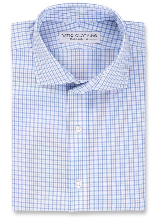 Light Blue Check Four-Way Stretch Product Image 3