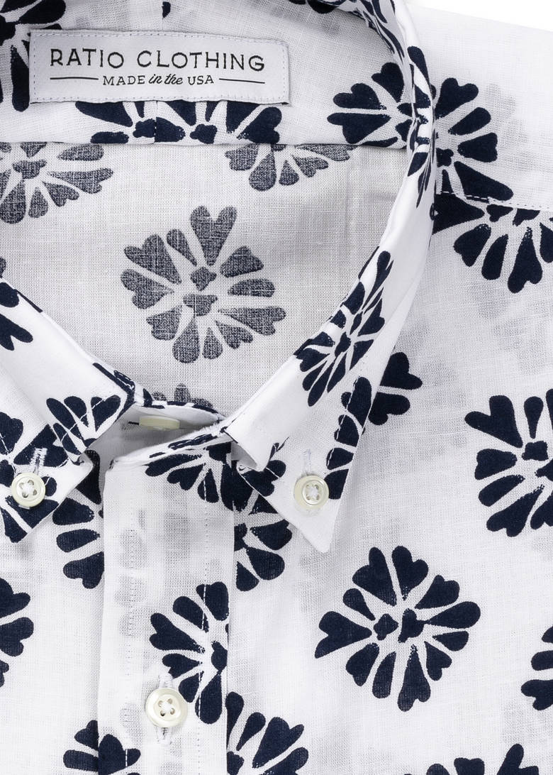 White and Navy Bali Print