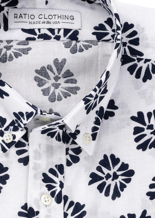 Image for White and Navy Bali Print