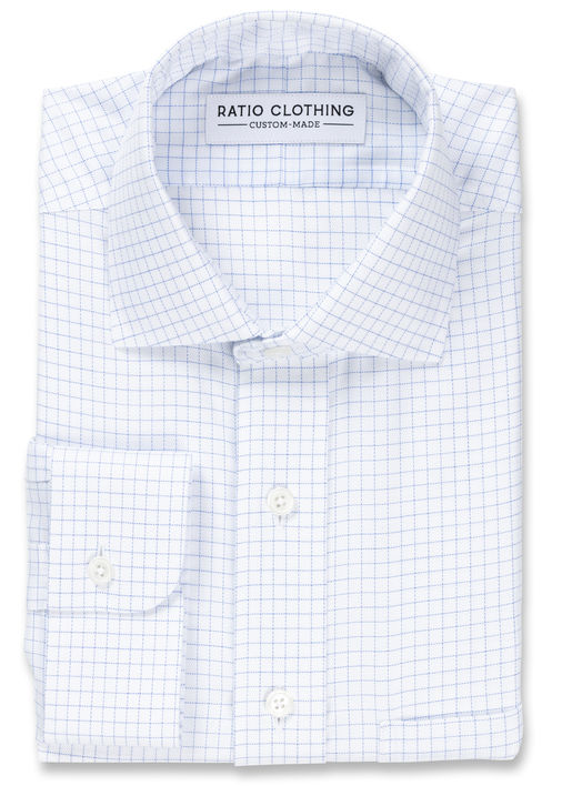 Light Blue Windowpane Non-Iron Twill Product Image 3