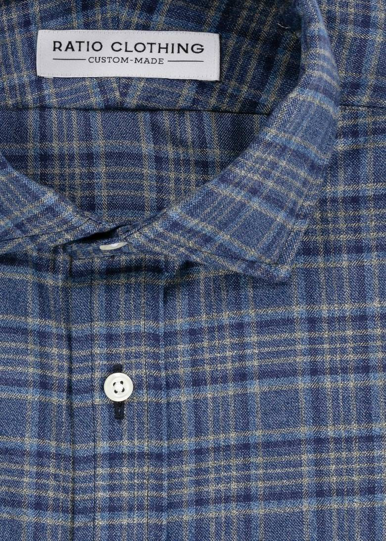 Blue and Tan Jaspe Flannel
