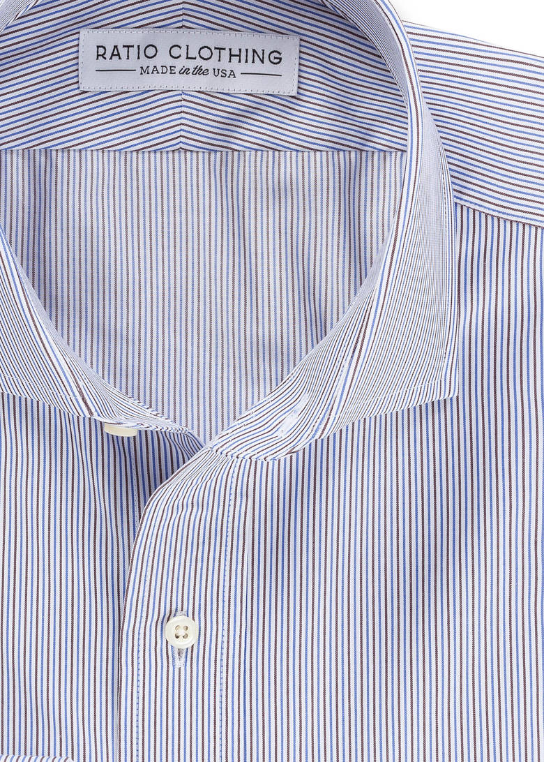 Blue + Brown Fine Twill Stripe Product Image 2