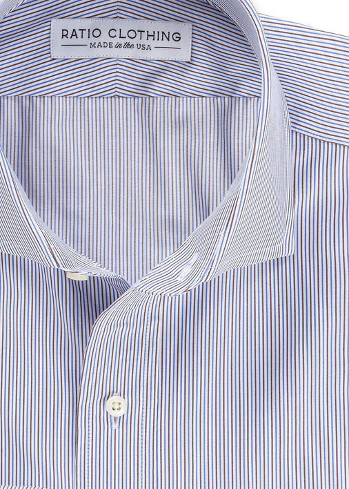 Blue + Brown Fine Twill Stripe