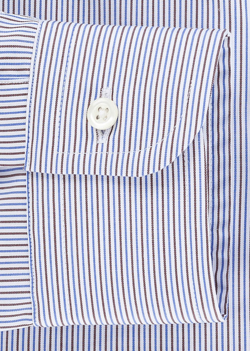 Blue + Brown Fine Twill Stripe Product Image 4