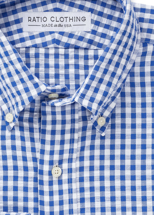 Blue Gingham Seersucker