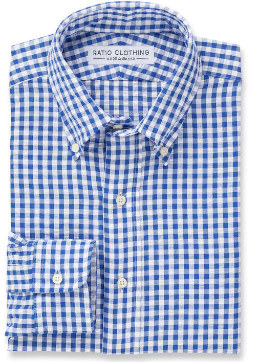 Blue Gingham Seersucker Product Image 2